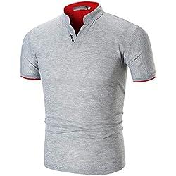 HCFKJ Camisetas Hombre Cuello RíGido De Los Hombres De Verano Casual Color Puro Moda Camisetas De Manga Corta
