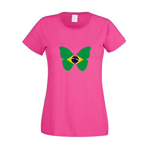 Brasilianische Frauen T-shirt (Ladies T-Shirt Brasilien Schmetterling Flagge Brazil Butterfly Flag, pink, XL)