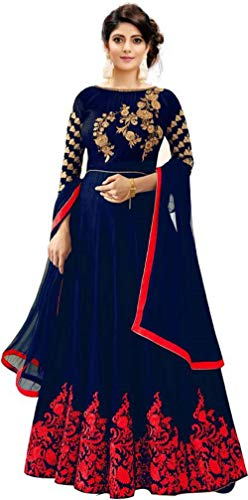 Mahalaxmi Fashion Women's Semi-Stiched Anarkali Gown (Blue_Free Size) (RED)