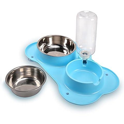 wangstar Gamelle d'eau et de nourriture, double 2en 1Bol antidérapant, en acier inoxydable bols pour chien avec distributeur d'eau automatique. Pour Chien Bol Chat Bleu ciel