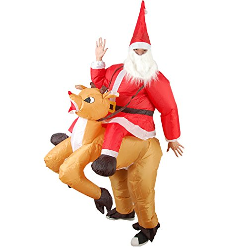 Zoylink Christmas Inflatable Costume Cosplay Blow up Party Costume Hat Beard