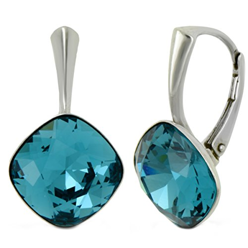 Galaxy gioielleria argento 925 leverback orecchini con genuine swarovski indicolite cristallo - ideale elegante regalo per le donne e le ragazze in una scatola regalo - impressionare con il tuo stile