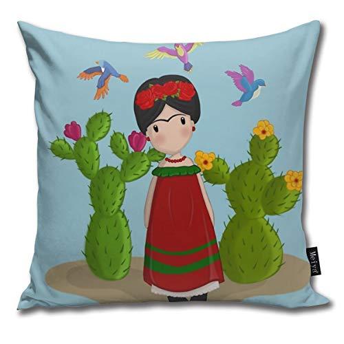 Sotyi-ltd Frida Kahlo Kissenbezug, dekorativer Kissenbezug, Geschenk für Geburtstag, Hochzeit, Paar, Jahrestag, Abschlussfeier, 45,7 x 45,7 cm
