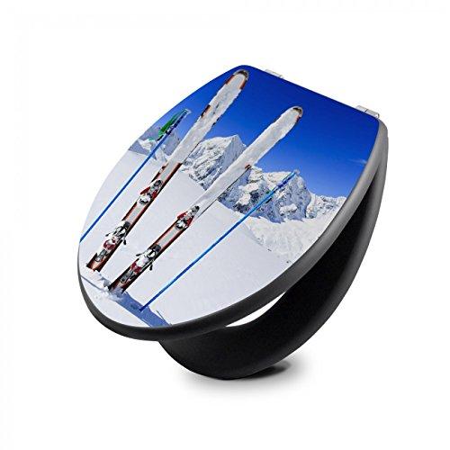 Preisvergleich Produktbild banjado - anthrazit Design Toilettendeckel WC Sitz Brille 36m x 5cm x 45cm mit Motiv Apres Ski