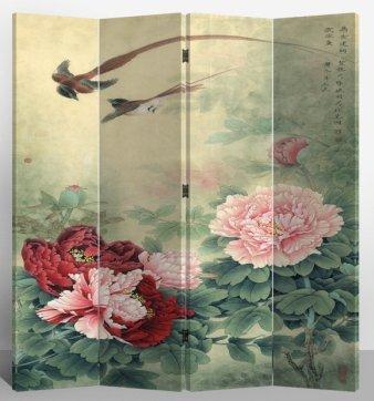 Fine Asianliving séparateur de pièce Paravent pliable écran Mudans et Flying Birds 4panneaux (180x 160cm) meubles Home Decor Imprimé sur toile écrans recto verso bilatéral Oriental asiatique chinois Style japonais (sur toile)