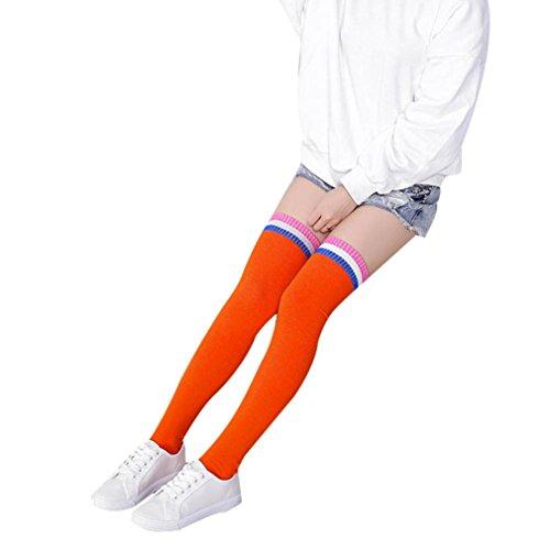 Donne Inverno sopra il ginocchio Più caldo A strisce Ellegant morbido calzini di cotone Fami (OR)