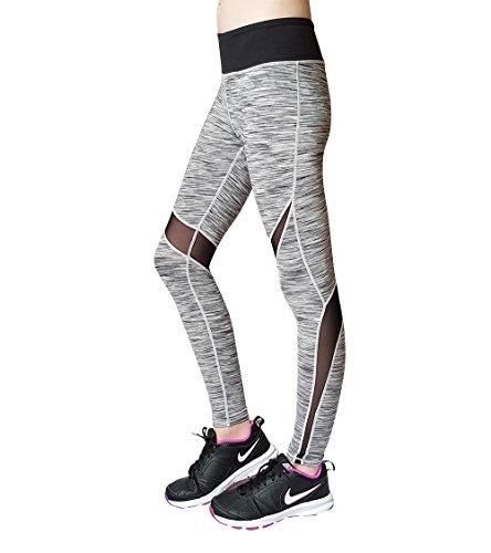 DEUCE SPORTS POWERSWITCH Leggings a rete nera delle donne per Yoga allenamento fitness funzionamento di ginnastica Jogging Tennis Squash Netball Pallavolo Hockey Grigio