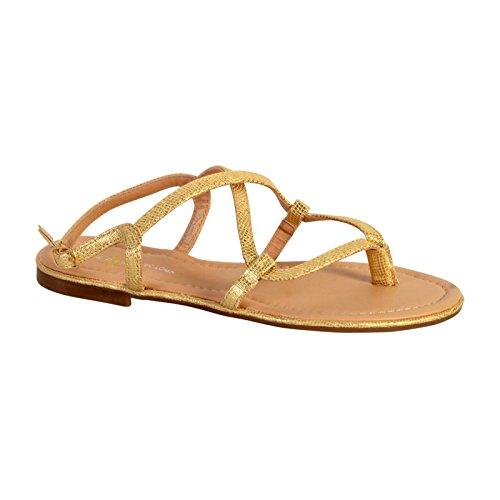 The Divine Factory Sandale Entredoigt TDF2944 Gold Jaune
