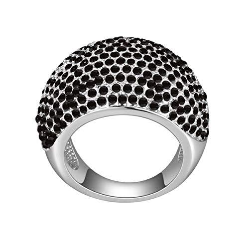 Myc paris - anelli leyna - acciaio inossidabile e cristalli swarovski - colore nero - formato 52