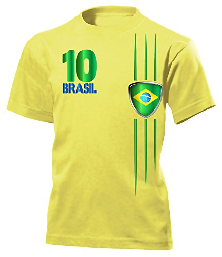 Brasilien Fan Streifen 3212 Fussball Kinder Fanshirt Fun-T-Shirts Gelb 140