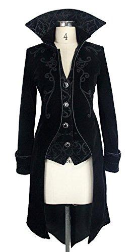 Veste femme en velours noir avec broderies, faux 2pcs, gothique élégant aristocrate Noir