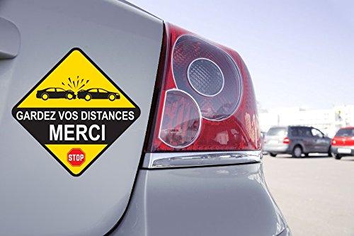 Sticker Panneau Gardez Vos Distances MERCI - 15cm x 15cm