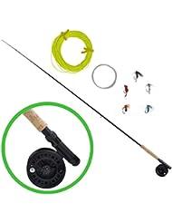 vidaXL Kit de pêche à la mouche avec lancer télescopique 2,4 m et moulinet
