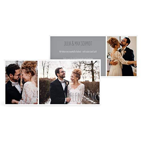greetinks 30 x Dankeskarten zur Hochzeit 'Foto Mix' in Grau | Personalisierte Danksagungskarten zum selbst Gestalten | 30 Stück Danksagung Karten