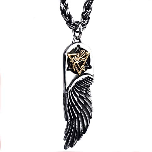 TIZIKJ Alles Sehen und Fühlen Auge des Horus Ägyptische Amulett Anhänger Halskette mit Feder für Männer Magic Cirlce Powers Medaillon Halskette