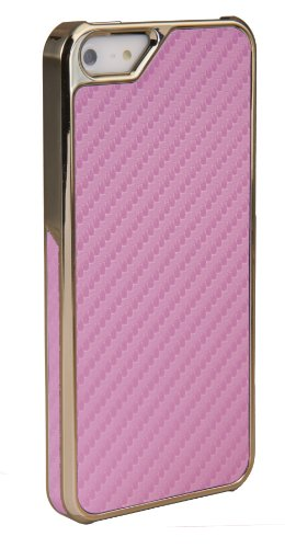 DONZO Handyhülle Flip Cover Case für das Apple iPhone 5 / 5S in Blau Flip Structure als Etui seitlich aufklappbar im Book-Style gold / rosa