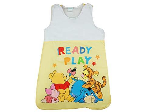 Disney Baby Winnie the Pooh Ganzjahres Schlafsack ärmellos, Unisex Mädchen und Jungen, auch für Herbst Winter Frühjahr Größe 56 62 68 74 80 86 92 98 Farbe Gelb, Größe 92/98