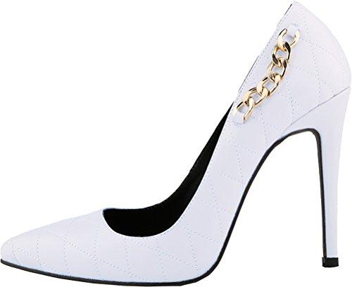 CFP , Damen Durchgängies Plateau Sandalen mit Keilabsatz , weiß - weiß - Größe: 35