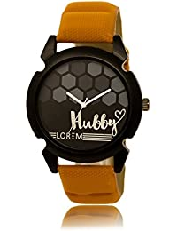 Shocknshop New Designer Analogue Round Black Dial Hubby Brown Men's Watch -(032)