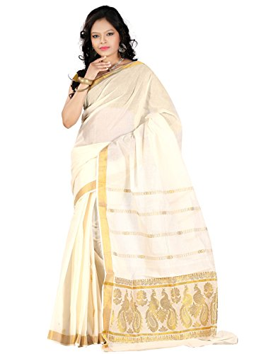 e-VASTRAM Women Kerala Kasavu Zari Rich Pallu Saree (KRPPEA, Beige)