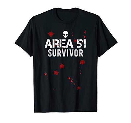 Funny Storm Area 51 Survivor Schuss Wunde Halloween Kostüm T-Shirt (Halloween Storm 2019)