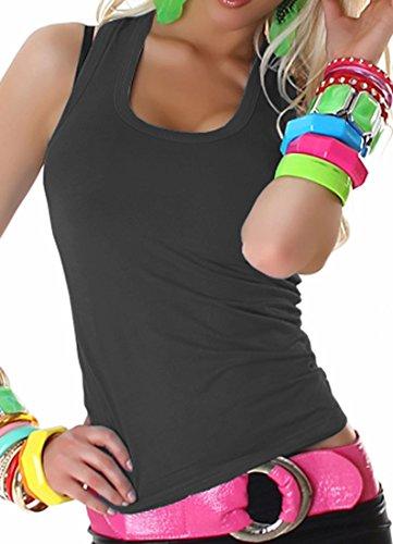 Damen Top Shirt Tanktop T-Shirt Sport Party Elegant Schwarz Sexy Lässig Träger Grau