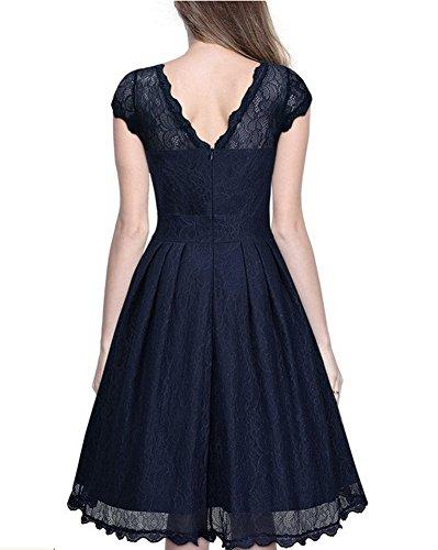 Whoinshop Damen Elegant Kleid Spitzenkleid Cocktailkleid Knielanges Vintage 50er Jahr hochzeit Partykleider Blau