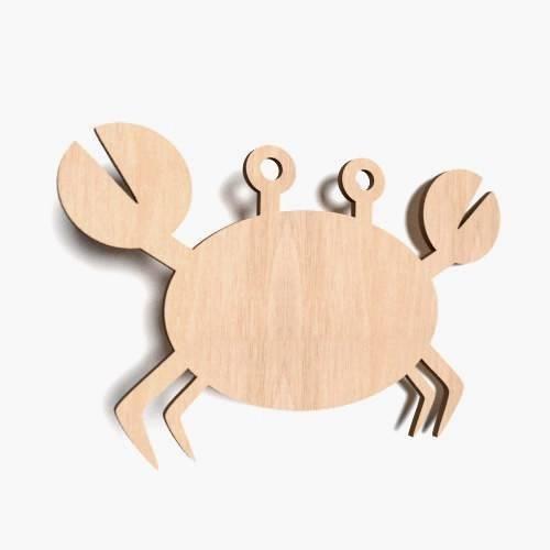 10x Krebs blank Form Holz Tier Basteln Malen Dekoration Wohnen Aufhängen (X53)