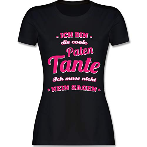 Schwester & Tante - Ich Bin die Coole Patentante - M - Schwarz - L191 - Damen Tshirt und Frauen T-Shirt
