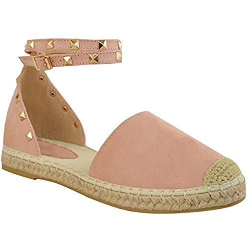 Fashion Thirsty Mujer Alpargatas Tobillo Tiras Sandalias Planas de Verano Tachuela Rock Zapatos Talla - Rosa Pastel Ante Artificial, 38