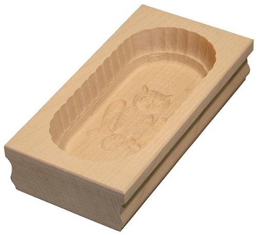 Hofmeister Holzwaren Square beurrier 19x9,6x4,3 cm pour 250 g avec Motif (Hibou)