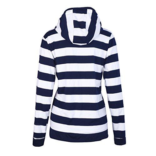Dames gestreept Hoodie ritssluiting langärmelige sweatshirt - blauw, maat: XXX-large - 2
