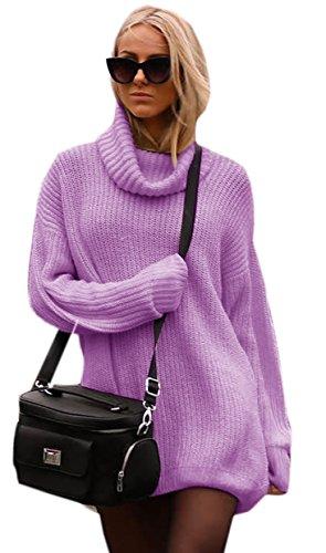 Damen Strickpullover Sweater Rollkragen Pullover Kuscheliger Jumper Strick Pulli Oversize (648) Violet