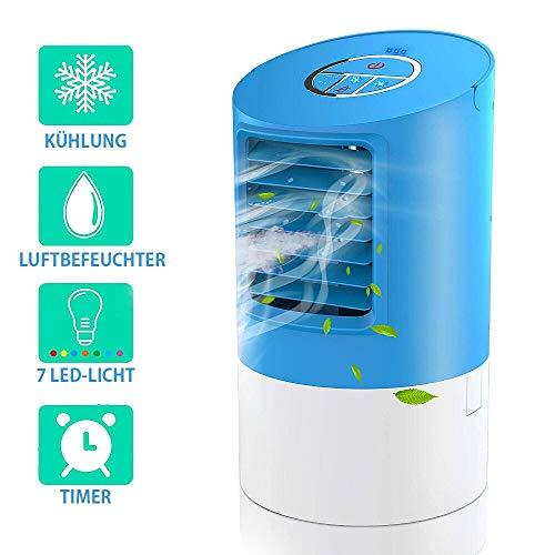 yjfgkk Mini Klimagerät Mobil, persönlicher 4 in 1 Multifunktions-USB-tragbarer Mini-Klimaanlage, Luftbefeuchter und Luftreiniger mit Nachtlicht, 3 Leistungsstufen für Home Office-Camping