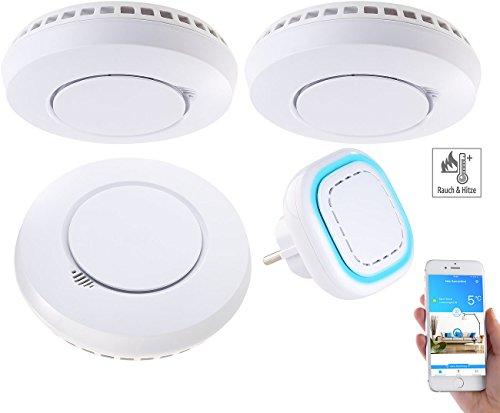 VisorTech Hitzemelder: Funk-Warnsystem WMS-250.hrg: WLAN-Gateway mit 3 Hitze-/Rauchmeldern...