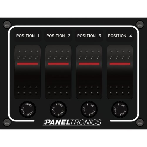 Paneltronics Paneltronics Waterproof Panel - DC 4-Position Illuminated Rocker Switch & Fuse by Paneltronics