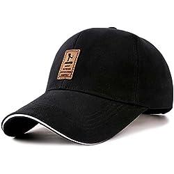 Gorra de béisbol ajustable de algodón de estilo vintage unisex para Deportes al aire libre (Negro)
