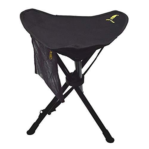 Geertop Chaise Trépied Pliable et Mobile Portable Pliante Légère en Acier avec Poche pour Camping Pêche Randonnée Pique-Nique (Noire, 0.58kg)