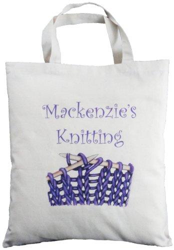 Personalised Knitting Natural Cotton Bag