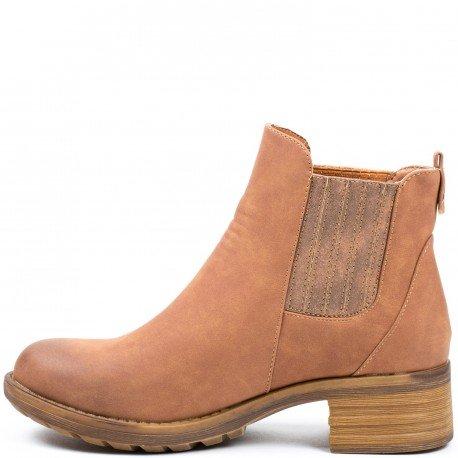 Ideal Shoes - Bottines style chelsea en similicuir Vastina Camel