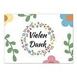 15 schöne Dankeskarten (Blumen Muster) mit 15 Umschlägen im Set - Danksagungskarten, Danke sagen nach Hochzeit, Geburt, Baby, Taufe, Geburtstag