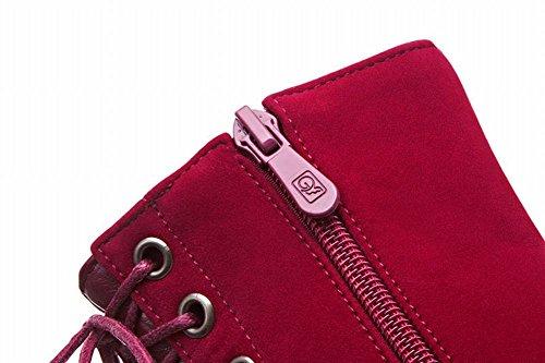 Mee Shoes Damen spitz Nubukleder Stiletto kurzschaft Reißverschluss Stiefel Rot