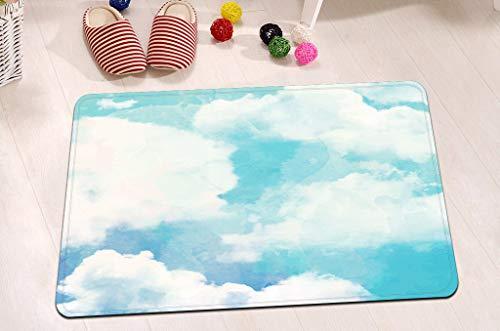 EdCott Kreative gemalte Landschaft Blauer Himmel und weißer Flanell Innendekorationsmatte Schlafzimmer Teppich Außentür Frontmatte Badezimmermatte Küchentürmatte Haushaltsfarbe Quadratmatte 40x60cm -