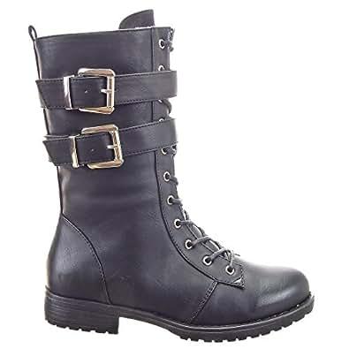 Sopily - Chaussure Mode Bottine Rangers mi-mollet femmes boucle Fermeture Zip Talon bloc 3 CM - Intérieur fourrure synthétique - fourrée - UK 8 - Noir - FRF-A10 T 41