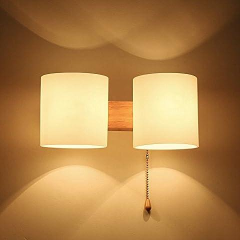 Ycwl moderne minimaliste japonais de Woody Escalier entrée couloir lampe murale en verre Bois massif Chambre à coucher lampe de chevet