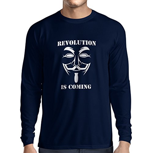 Camiseta de Manga Larga para Hombre The Revolution Is Coming - The Anonymous Hackers Mask (Large Azul Blanco)