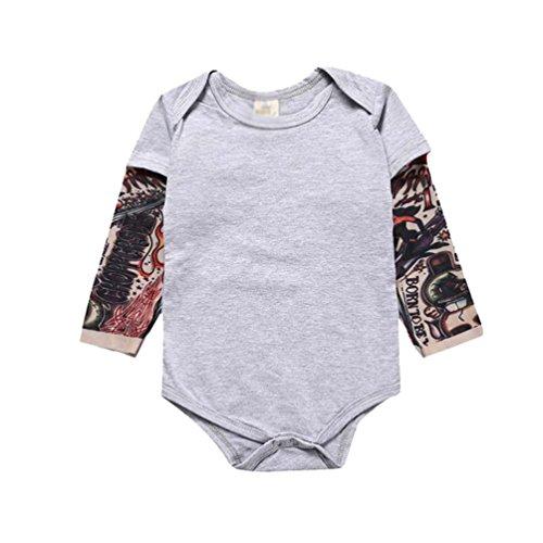 YiJee Kinder Langarm Tattoo Print Babykleidung Strampler Herbst und Winter Casual Overall Grau XS