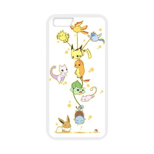 "Pokemon Pikachu Étui en silicone TPU Coque de protection pour iPhone 6 (4,7 ""inch) Étui avec Screen Protector, Mobile Phone Case Back Cover Blanc Noir for iPhone 6 6S (4.7 inch)"