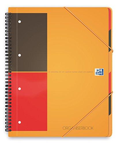 Oxford 100100462 International Organiserbook, A4+, liniert 6 mm / 4-fach gelocht / Mikroperforation, 80 Blatt, Sortierfächer & Gummizug