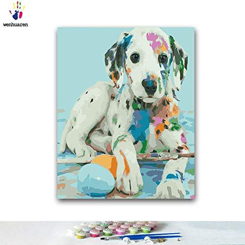 Malen nach Zahlen-Kits Ölgemälde für Kinder, Studenten, Erwachsene, Anfänger mit Pinsel und Acryl-Pigment - bunte Piebald Hund bemalt hapy Hund Farbe Zebra Tier 20x24 no frame 100344